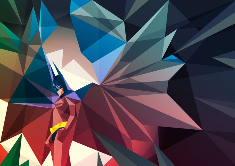 Batman illustration using colorful shapes by Liam Brazier